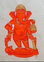 orange ganesh with gold crown