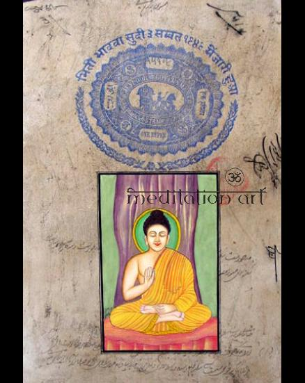 Miniature Buddha Original Painting on Antique Banknote from India